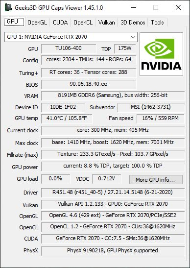 NVIDIA GeForce 451.48 + GPU Caps Viewer + GeForce RTX 2070