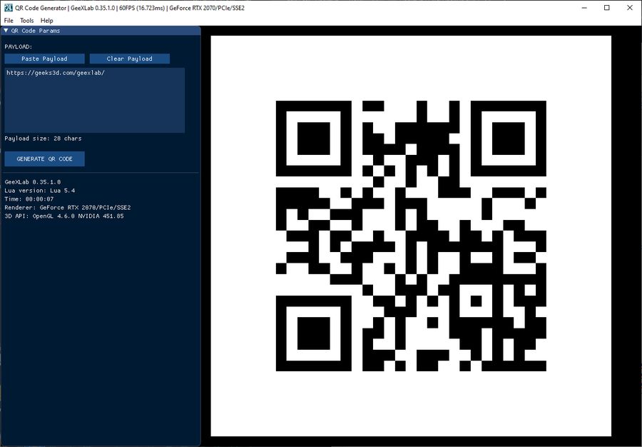 QR code generator with GeeXLab