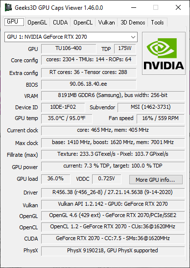 GPU Caps Viewer 1.46.0 - GeForce RTX 2070