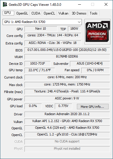 GPU Caps Viewer + Radeon RX 5700