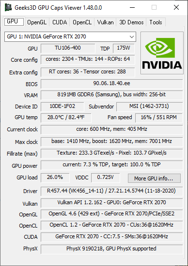 Vulkan 1.2.162 - GPU Caps Viewer - GeForce RTX 2070