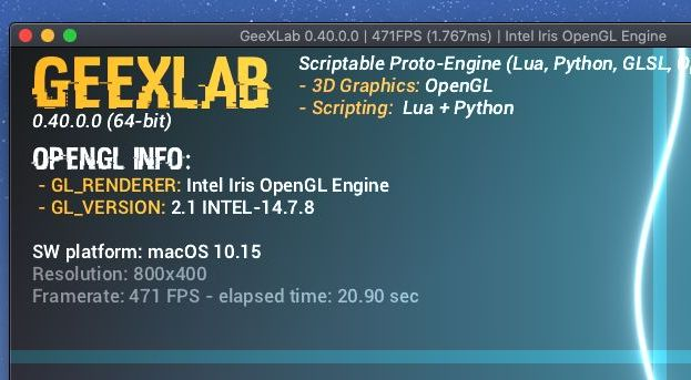 GeeXLab on Apple Mac mini Intel - x86_64