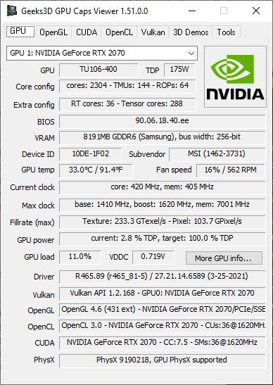 GPU Caps Viewer 1.51.0 - GeForce RTX 2070