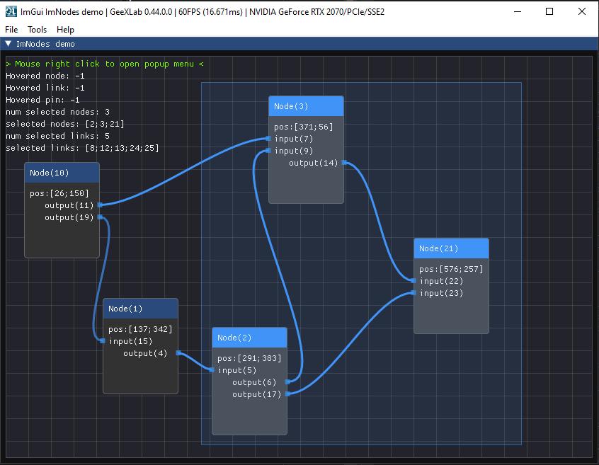 GeeXLab - ImNodes - node editor